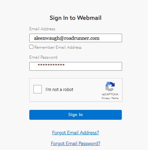 enter email id and password in roadrunner login page